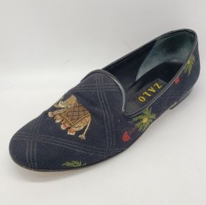 Zalo Woven Elephant and Palm Flats Shoes